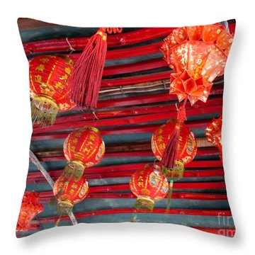 Throw Pillow featuring the photograph Red Lanterns 2 by Randall Weidner