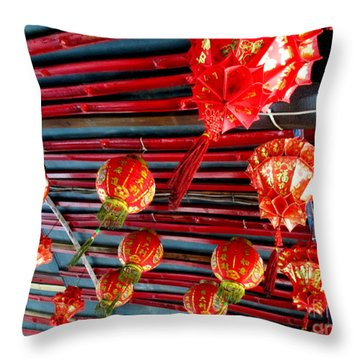 Throw Pillow featuring the photograph Red Lanterns 3 by Randall Weidner