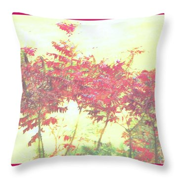Red Leafs Throw Pillow by Shirley Moravec