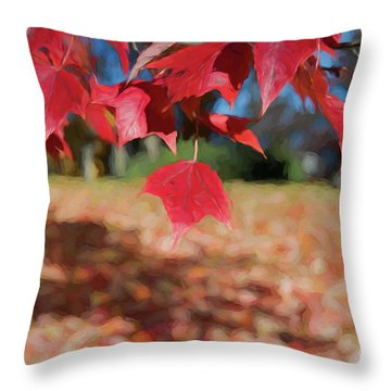 Red Leaves Throw Pillow