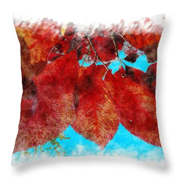 Throw Pillow featuring the photograph Red Leaves by Jean Bernard Roussilhe