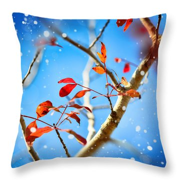 Red Leaves On Blue Background Throw Pillow