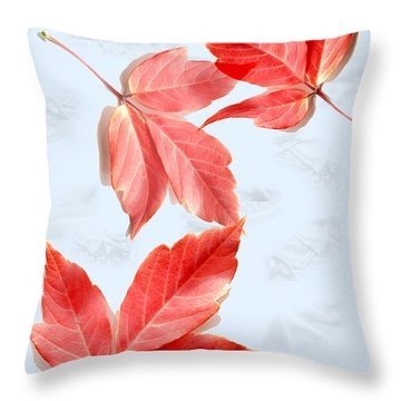 Red Leaves On Blue Texture Throw Pillow by Kae Cheatham