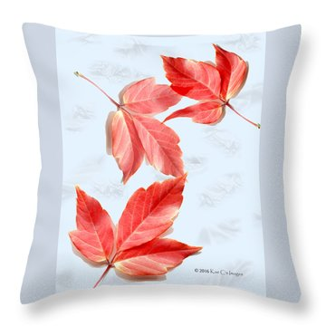 Red Leaves On Blue Texture Throw Pillow