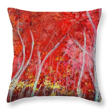 Crimson Leaves Throw Pillow