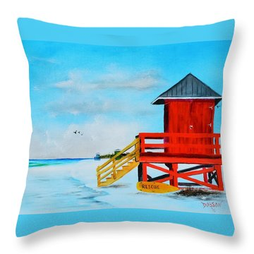Red Life Guard Shack On The Key Throw Pillow