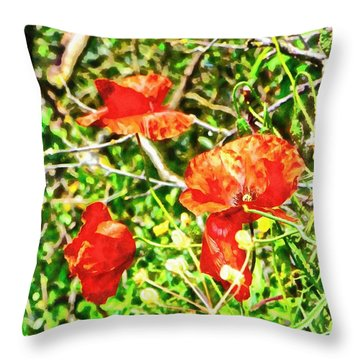 Red Like A Poppy Throw Pillow