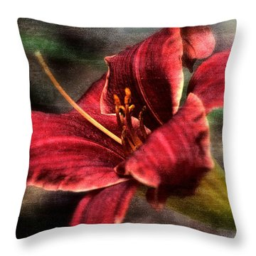 Red Lilly Throw Pillow