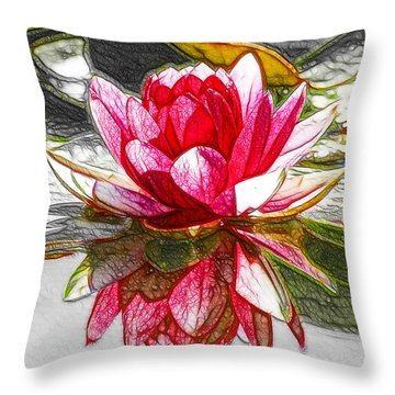 Red Lotus Flower Throw Pillow by Lanjee Chee