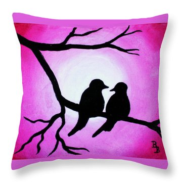 Red Love Birds Silhouette Throw Pillow