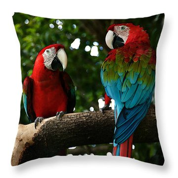Red Macaws Throw Pillow