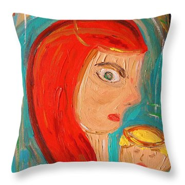 Throw Pillow featuring the painting Red Madonna by Mary Carol Williams