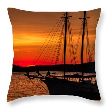 Red Maine Sunrise Throw Pillow