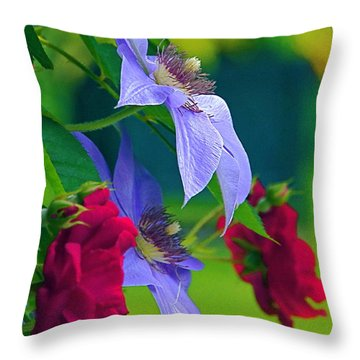Red Meets Lavender Throw Pillow