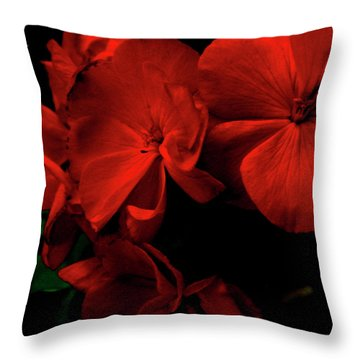 Red  Midnight Magic Flowers Throw Pillow