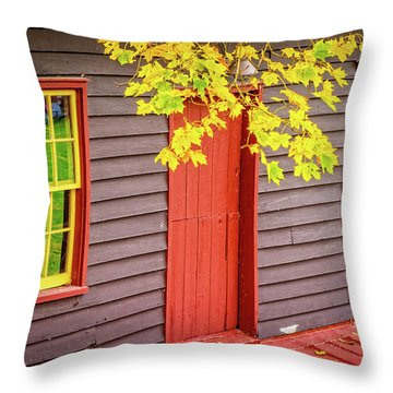 Red Mill Door In Fall Throw Pillow