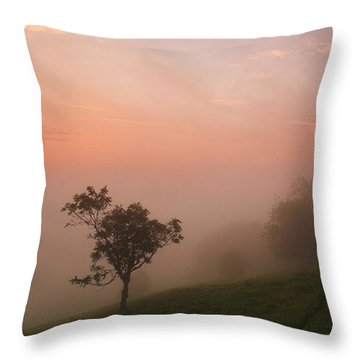 Red Mist On The South Downs Throw Pillow by Hazy Apple