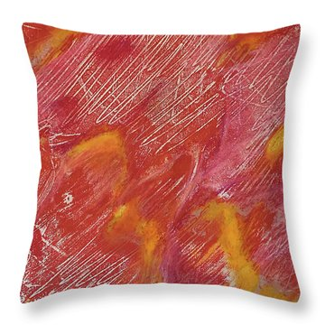 Red Monoprint One Throw Pillow