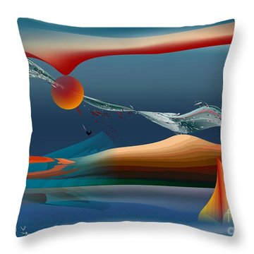 Red Moon Sign Throw Pillow by Leo Symon