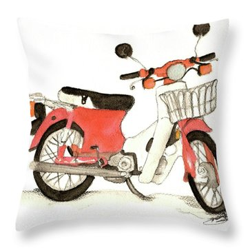 Red Motor Bike Throw Pillow