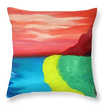 Red Mountain By The Sea Throw Pillow