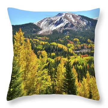 Throw Pillow featuring the photograph Red Mountain Fall Color by Ray Mathis