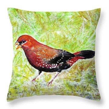 Red Munia Throw Pillow