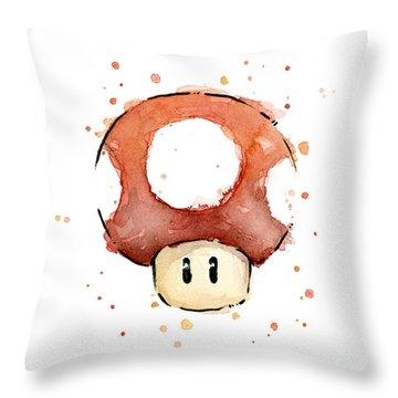 Red Mushroom Watercolor Throw Pillow