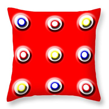Red Nine Squared Throw Pillow