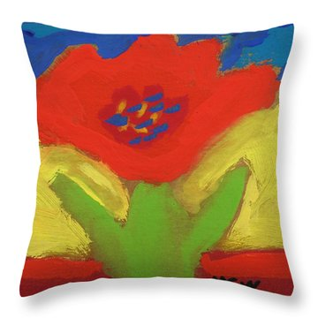 Red Number 1 Throw Pillow by Mary Carol Williams