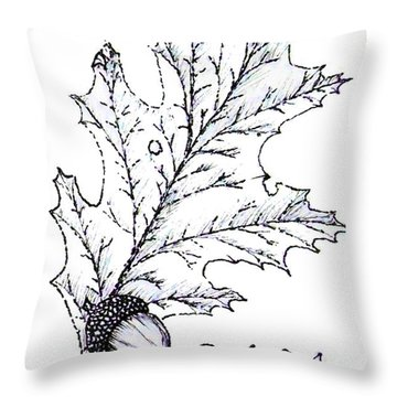 Red Oak Leaf And Acorn Throw Pillow