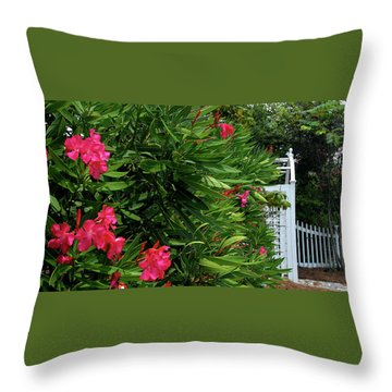 Throw Pillow featuring the photograph Red Oleander Arbor by Marie Hicks