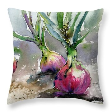 Red Onions Watercolors Throw Pillow
