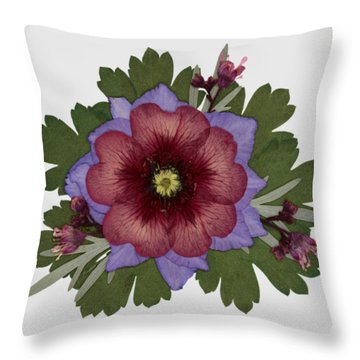Red Open Faced Potentilla Pressed Flower Arrangement Throw Pillow
