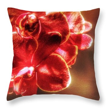 Throw Pillow featuring the photograph Red Orchid by Isabella F Abbie Shores FRSA