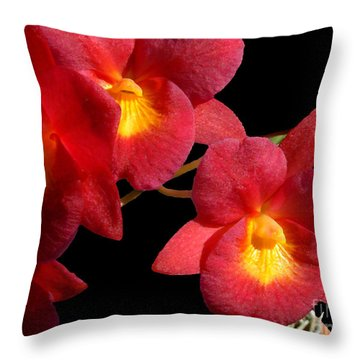 Red Orchids Throw Pillow