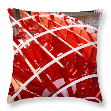 Red Paddle Wheel Throw Pillow by Art Block Collections