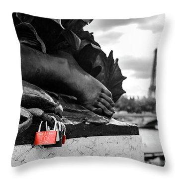 Red Padlocks In Paris Throw Pillow