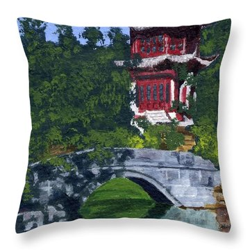 Throw Pillow featuring the painting Red Pagoda by Lynne Reichhart