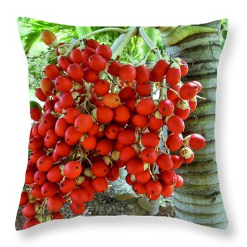 Red Palm Tree Fruit Throw Pillow by Kirsten Giving