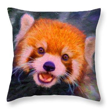 Red Panda Cub Throw Pillow