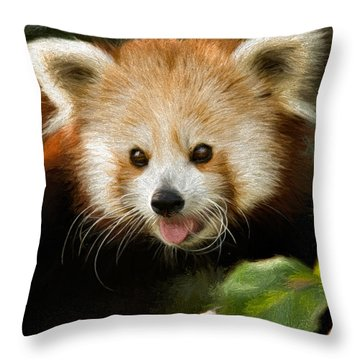 Throw Pillow featuring the photograph Red Panda by Lana Trussell