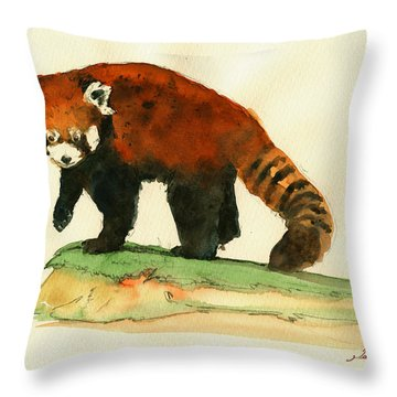 Red Panda Walk Throw Pillow