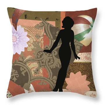 Red Paper Doll Throw Pillow