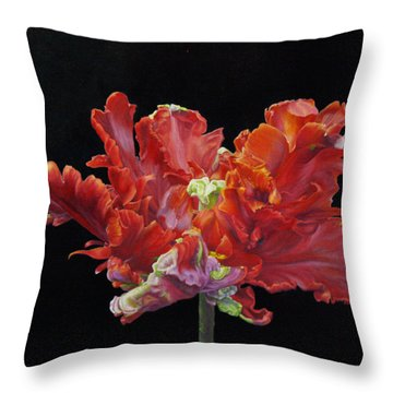Red Parrot Tulip - Oils Throw Pillow by Roena King