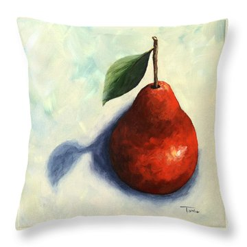 Red Pear In The Spotlight Throw Pillow