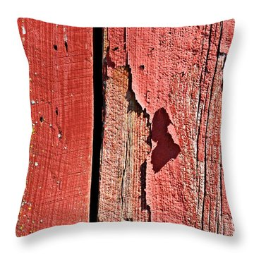 Throw Pillow featuring the photograph Red Peeling Paint- Fine Art by KayeCee Spain