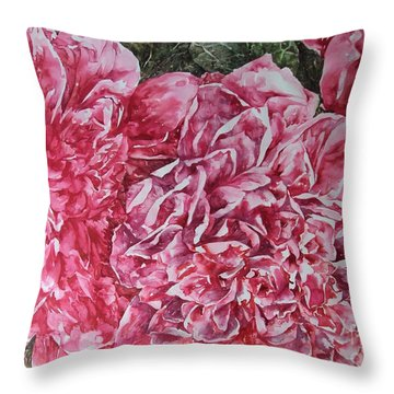 Red Peonies Throw Pillow by Kim Tran