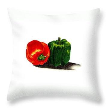 Red Pepper And Green Pepper Throw Pillow by Michael Vigliotti