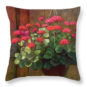 Throw Pillow featuring the painting Red Petals Geraniums by Nancy Lee Moran